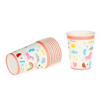Riscawin Unicorn Paper Cups Disposable Tableware Wedding Birthday Decorations Baby Shower Theme Festival For Kids Girls Boys