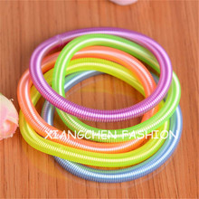 100pcs/lot NEW Fashion fluorescent neon colors flexible spiral spring wire telephone line bracelet accessories for women girls