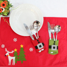 8PCs/ 2Packs Christmas Belt Cutlery Spoon Knife Tableware Utensil Pocket Bag Holder Dining Restaurant Table Kitchen Decor