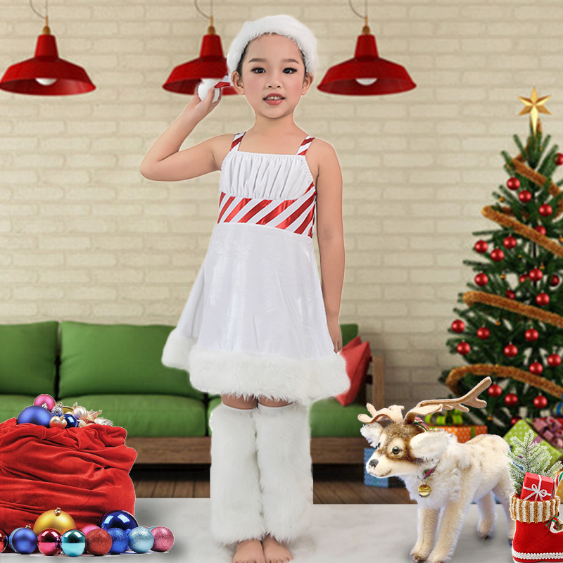 New 2016 Baby Girl Christmas Dress With Santa Cap Foot Strap Stripe Feather Decor Kid Xmas Costume New Year Clothes For Girls<br><br>Aliexpress