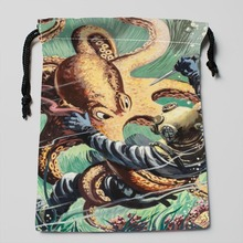 Unique Design octopus storage bags Compression Type Customized Silk soft Satin drawstring bags size 18X22cm
