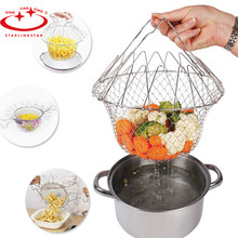 1Pcs  Foldable Fry Basket Steam Rinse Strain magic basket mesh basket Strainer Net Kitchen Cooking Tools