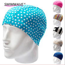 Colorful Waterproof Polyester Protect Ears Long Hair Sports Swim Pool Swimming Cap Hat for Men Women Adults Print Solid Summer