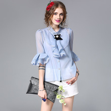 Elegant Bow Ladies Office Shirts 2017 Women Summer Flare Sleeve Ruffles Embroidery White/Blue Silk Chiffon Blouse Slim Tops
