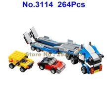 Decool 3114 264pcs Vehicle Transport Race Truck 3 In 1 Car Building Block Compatible 31033 Brick Toy(China)