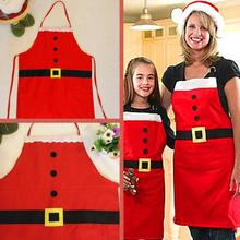 2PC Christmas Decoration Santa Apron Kitchen Cooking Baking Chef Red Apron Mother and daughter Christmas Apron(China)