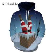 N-olsollo Santa Claus Trapped In A Chimney Sweatshirt Print Casual Hooded Coat Pullover Full Sleeve Thin Cloth Loose Sexy Hoodie(China)