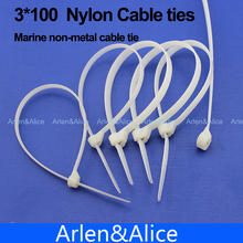 200pcs 3mm*100mm Nylon cable ties stainless steel plate locked for boat vessel with Marine non-metal tie(China)