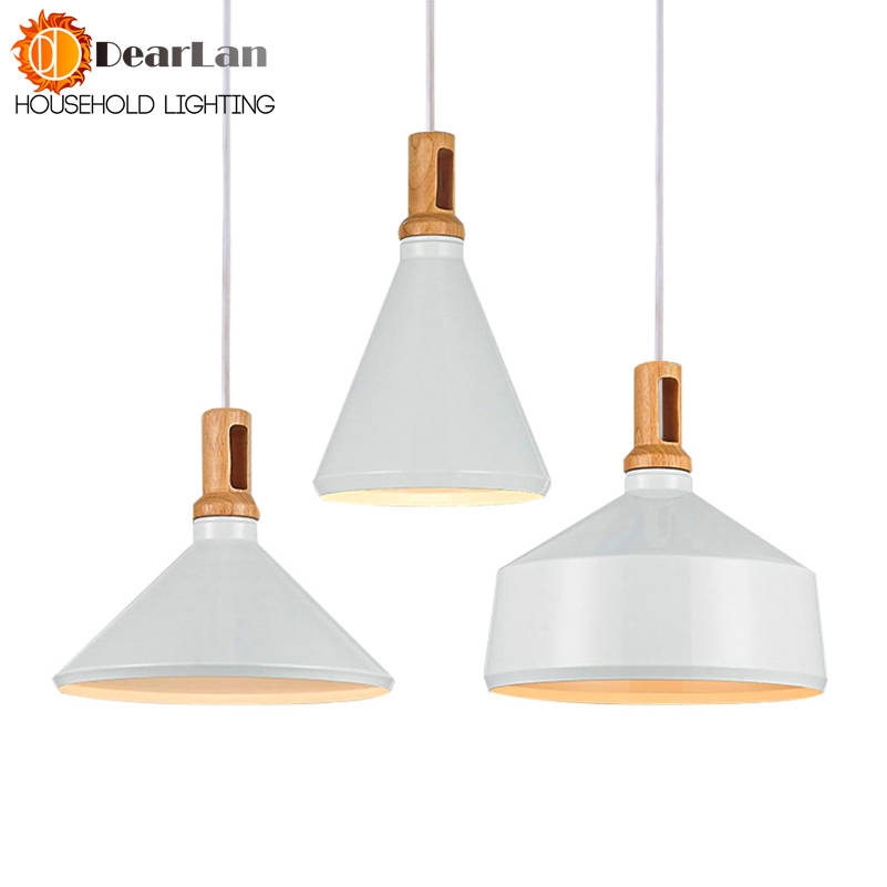 Pure Natural Wood Makes Modern White Pendant Lamps Modern Wood Alluminum Droplight Lamps With Red Wire Dining Room Pendant Light<br>