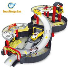 LeadingStar Spiral Roller Rail Alloy Vehicles Kids City Parking Garage Toy City Car Truck Vehicle Auto 2 Storey Play Set Tire Ca(China)