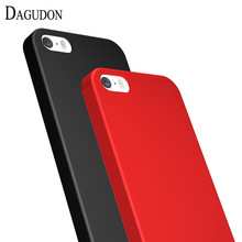 DAGUDON Rubber Cases for Apple iPhone 5 5s Matte Soft TPU Silicone Cover for iPhone 5 5S Protective Case Full Cover Red phone(China)