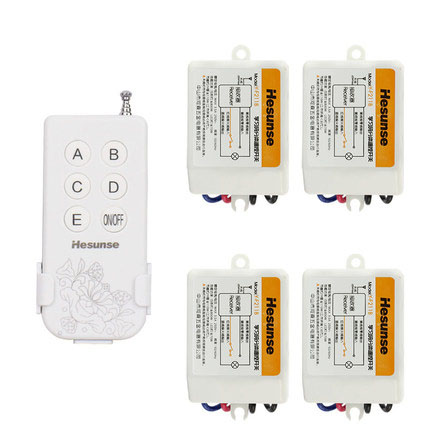 Y-F211B1N4 Free Shipping 220V 315mhz Four Ways Wireless Digital ON/OFF Remote Control Switch With 4 Receivers<br>