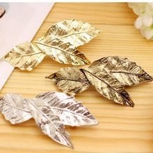 1pc 2017 new fashion punk hair ornaments retro golden leaf design hairpin girl hairpin lady