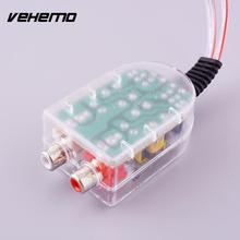 Vehemo Hot Adjustable Level Car Speaker High to Low Impedance Converter Amplifier Adapter 2 Channel RCA Line Out(China)