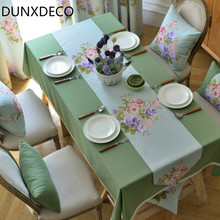 DUNXDECO 1PC French Country Style Garden Fresh Floras Linen Cotton Table Runner Home Party Table Cover Fabric Comfort Home Decor