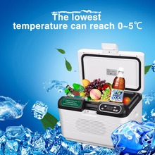 DC 12V/24V 12L Portable Mute Design Dual-core Mini Auto Fridge Truck Home Freezer Travel Car Refrigerator Cooling to 5 Degree