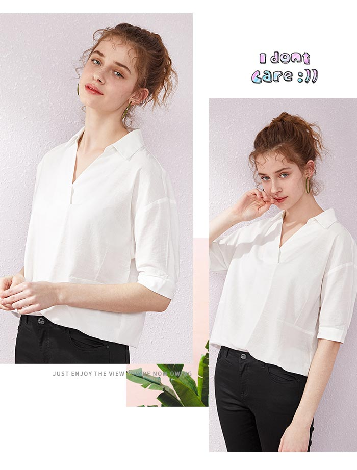 SEMIR Short sleeve white shirt women summer 19 new lapel V-neck shirt simple solid color students fresh relaxed blouse 3