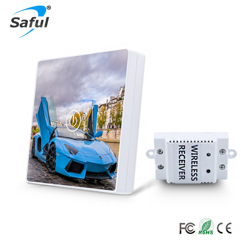 Wireless 1 Gang 1 Way Wireless Touch Switch Car design Crystal Glass Switch DIY Picture Remote Contral For Smart H<br>