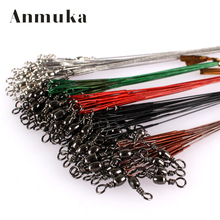 Anmuka 50PCS Steel Wire Leader Rope Fishing Line Lure Leader Swivel Interlock Snap Anti-bite Line fishing hooks 16/18/22/25/28cm(China)