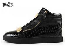 Personalized Men's Boots, Hip Hop Shoes, Exquisite Zipper Design, Fashion Style(China)