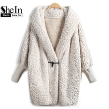 SheIn 2016 Hooded Outwear Winter Newest Fashion Design Women's Apricot Batwing Long Sleeve Loose Streetwear Hoody White Coat