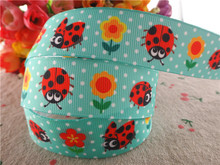 "17030263,New arrival 1"" (25mm) 50 yards/lot flowers ladybug printed grosgrain ribbons cartoon ribbon DIY handmade materials(China)"