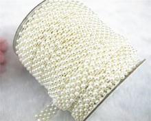 10 Yard 5 Rows 15mm Ivory Pearl Chain Trims Costume Applique Sewing Craft LZ36