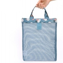 New Portable Mesh Shopping Bag Necessaire Travel Women Cosmetic Bag Make Up Organizer Sports Sea Beach Handbag Toiletry Bag