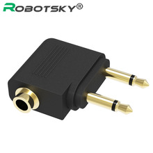 3.5mm To 3.5mm Stereo Jack Audio Adapter Portable 2 Male To Female Aircraft Airline Converter For Headset Earphone Adaptor 2017