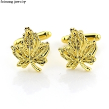 Wholesale 20pc/lot gold maple leaf shirt cuff links high quality men's wear cufflinks pair for the wedding to provide cufflinks(China)