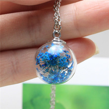 2016 fashion steel round clear statement necklace silver glass Real dried flowers simple Handmade necklaces for women jewelry