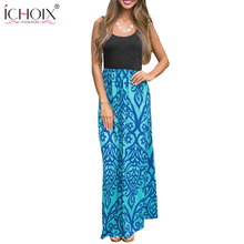 Buy ICHOIX S-2XL Plus Size Sexy Boho Long Dresses Women clothing Summer Women Beach Patchwork Dress Elegant sleeveless maxi clothes for $14.33 in AliExpress store