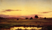 Sunset Rhode Island by Martin Johnson Heade Landscape Painting for Office Decoration Painting High Quality Hand Painted