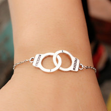 L177 Couple Lock Valentine's Gift Mujer Pulseras Men Fashion Vintage Freedom Handcuff Chain Bracelet Women Jewelry Charm Bangles