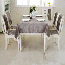JIAJIAKU Brand Chenille Customized Tablecloths SET Furniture Cover Dining Table Chair Seat Pads