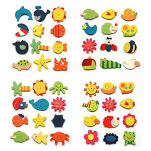 1Pack(12pcs)  Wooden Kitchen Fridge Magnet Stickers Decorative Baby Kid Lovely Cartoon Animal Wooden Educational Toy Gifts