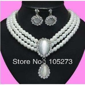 New Arriver Pearl Jewelry 18-20'' 3Rows 7-8MM White Natural Freshwater Pearl Necklace Earrings Fashion Jewellery Set Free Ship