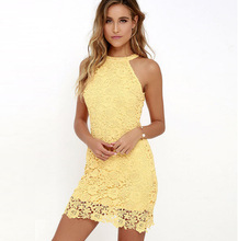 Buy OLGITUM 2018 Womens Elegant Wedding Party Sexy Night Club Halter Neck Sleeveless Sheath Bodycon Lace Dress Short DR091