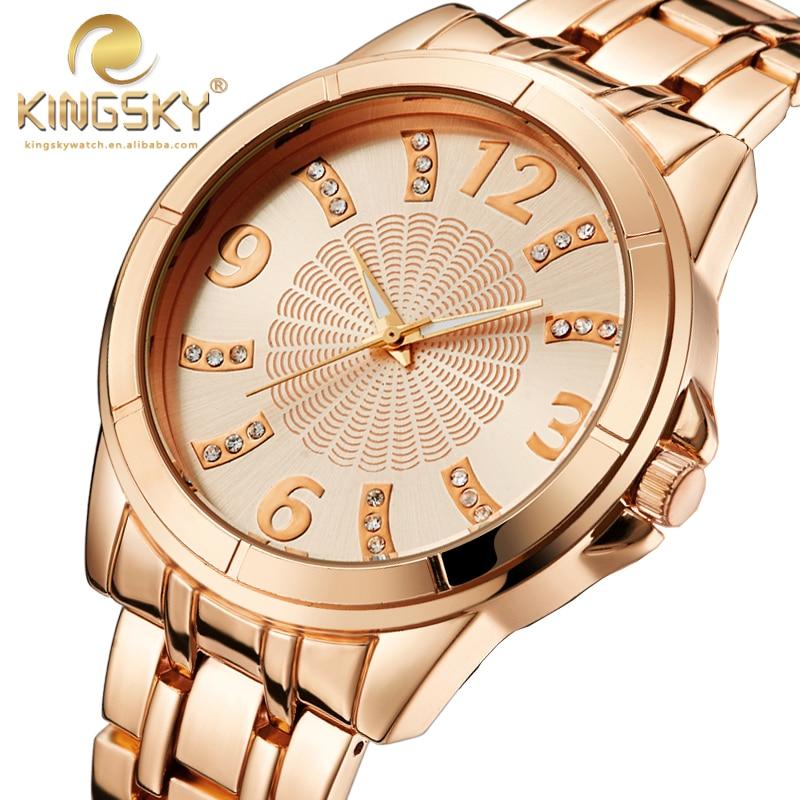 Watch Women Quartz-watch New Arrival KINGSKY Women New Casual Watches Rose Gold Brand Famous Japan Quartz Fashion Reloj Mujer