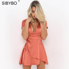 Sibybo Sexy Club Party Bodycon Dress Women Summer V Neck High Low Satin Sundress Casual Lace Up Pleated Clubwear Mini Dresses
