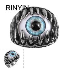 Hot Sale Finger Art Antique Silver Retro Titanium Stainless Steel Ring Punk Biker Jewelry Evil Claw Cyclopia Monster Eyes Ring