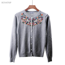 Vintage Embroidery Cardigan Women 2017 Fall Autumn O-Neck Single Breasted Sweater Female Retro Floral Flowers Knitted Cardigans