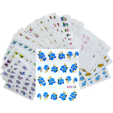 55Sheets NEW 3d Glitter Designs Nail Art Sticker Water Transfer Decals Mixed Flower With Gold Powder DIY Tips Manicure BJC55(China)