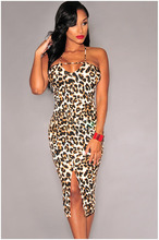 Sexy Famous Brand Women Leopard Adjustable Strap Mid-Calf Slit Bodycon Dress Evening YBN0155(China)