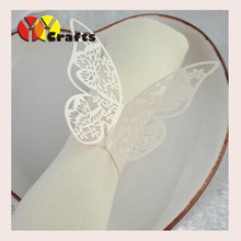 Hot sell wedding decor favor fancy handmade laser cut towel wrapper paper butterfly napkin ring wholesale with good quality