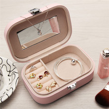 Assorted Colors PU Leather Portable Jewelry Earrings Rings Necklace Bracelet Hair Clip Storage Box Jewelery Case Organizer(China)