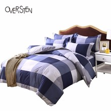 OVERSTEN Duvet Cover Set For Twin Full Queen King  Single Double Size Plaid Pattern Quilt Cover Bedding Set With Pillow Case