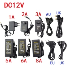 Free shipping AC100-240V to DC12V 1A 2A 3A 5A 6A 8A 10A Power supply EU/US/UK/AU plug power adapter transformer(China)