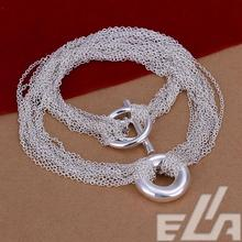 Hot marketing silver plated necklace multi-chain necklace trendy style jewelry for women(China)
