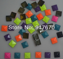 Promotion heat transfers studs neon Pyramid 8*8mm, hot fix metal studs for clothing 10000pcs/pack DIY christmas item products